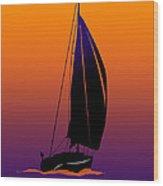 Purple On Orange Sailing Wood Print