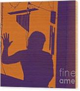 Purple Orange Figure Shadow Wood Print
