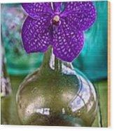 Purple Orchid In Vase Wood Print