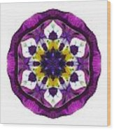 Purple Pansy II Flower Mandala White Wood Print