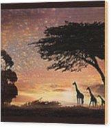 Purple Safari Sunset Wood Print