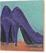 Purple Shoes Wood Print