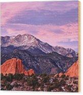 Purple Skies Over Pikes Peak Wood Print