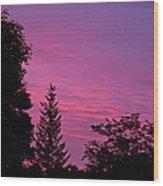 Purple Sky At Night Wood Print
