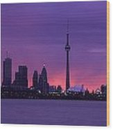 Purple Skyline Wood Print