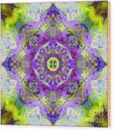 Purple Star Yantra Mandala Wood Print