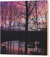 Purple Sunset On Smith Mt. Lake Wood Print