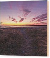 Purple Sunset Sky At The Beach Wood Print
