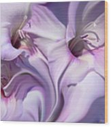 Purple Swirl Abstract Gladiolas  Wood Print by Jennie Marie Schell