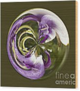 Purple Swirl Orb Wood Print