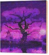 Purple Tree Of Life Wood Print
