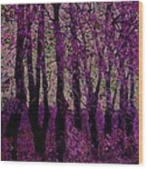 Purple Trees Wood Print