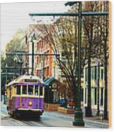 Purple Trolley Wood Print