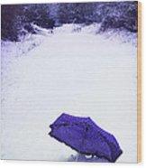 Purple Umbrella Wood Print by Amanda Elwell