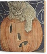 Purrfect Halloween Wood Print