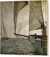 Pursuit In Deep Sea Wood Print