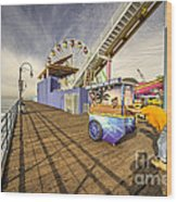 Pushing On The Pier Wood Print