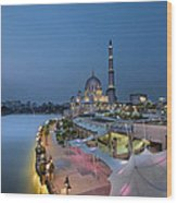 Putra Mosque At Blue Hour Wood Print