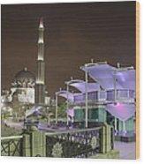 Putra Mosque At Night Wood Print