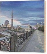 Putra Mosque At Sunset Wood Print