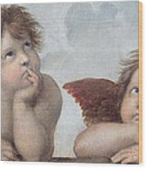 Putti Detail From The Sistine Madonna Wood Print