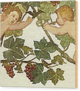 Putti Frolicking In A Vineyard Wood Print by Phoebe Anna Traquair