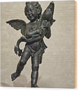 Putto With Dolphin By Verrocchio Wood Print by Melany Sarafis