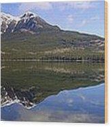 Pyramid Lake Mountain Reflections - Jasper, Alberta Wood Print