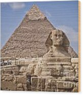 Pyramids And Sphinx In Egypt Wood Print