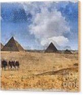 Pyramids Of Giza In Egypt Wood Print