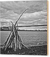 Pyre At The Bridge Wood Print