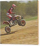 Quad Racer Jumping Wood Print