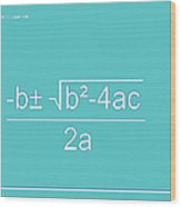 Quadratic Equation Aqua-white Wood Print