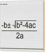 Quadratic Equation B-w Wood Print