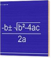 Quadratic Equation Blue-white Wood Print