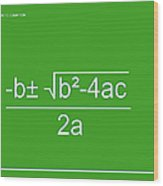 Quadratic Equation Green-white Wood Print