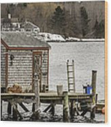 Quaint Fishing Shack New Hampshire Wood Print