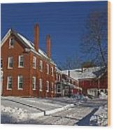 Quaint Maine Winter Farm Wood Print