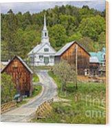 Quaint Vermont Village Wood Print