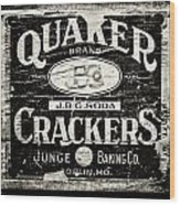 Quaker Crackers Rustic Sign For Kitchen In Black And White Wood Print by Lisa Russo