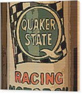 Quaker State Oil Can Wood Print by Carrie Cranwill