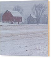 Quakertown Farm On Snowy Day Wood Print by Anna Lisa Yoder
