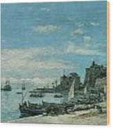 Quay At Villefranche Wood Print by Eugene Boudin