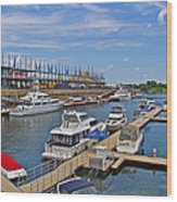 Quays Along Saint Lawrence River In Montreal-qc Wood Print