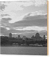 Quebec City Panorama B N W Wood Print