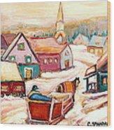 Quebec City Street Scene Caleche Ride In The Village Wood Print