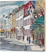 Quebec Old City Canada Wood Print by Anthony Butera