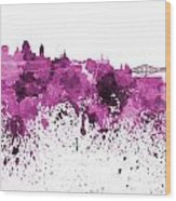 Quebec Skyline In Pink Watercolor On White Background Wood Print