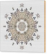 Queen Annes Lace I Flower Mandala White Wood Print