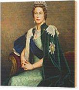 Queen Elizabeth II Portrait - Oil On Canvas Wood Print